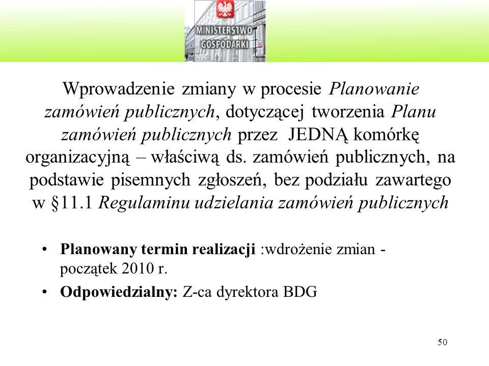 50 Wprowadzenie zmiany w procesie Planowanie zamówień publicznych, dotyczącej tworzenia Planu zamówień publicznych przez JEDNĄ komórkę organizacyjną – właściwą ds.