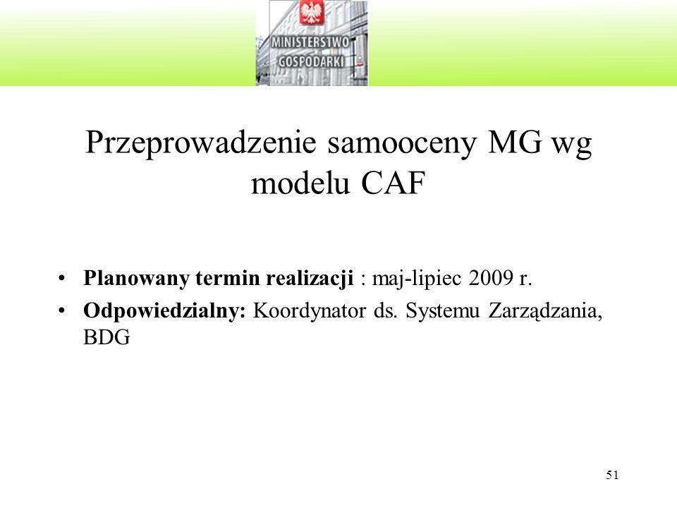 51 Przeprowadzenie samooceny MG wg modelu CAF Planowany termin realizacji : maj-lipiec 2009 r. Odpowiedzialny: Koordynator ds. Systemu Zarządzania, BD