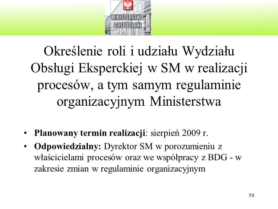58 Określenie roli i udziału Wydziału Obsługi Eksperckiej w SM w realizacji procesów, a tym samym regulaminie organizacyjnym Ministerstwa Planowany termin realizacji: sierpień 2009 r.