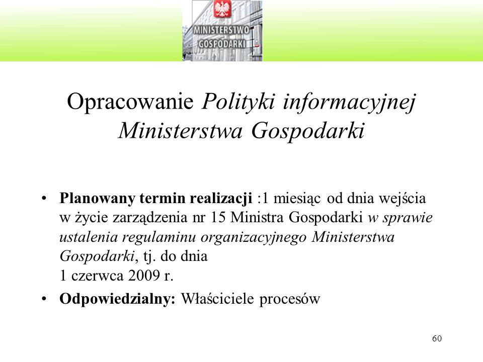 60 Opracowanie Polityki informacyjnej Ministerstwa Gospodarki Planowany termin realizacji :1 miesiąc od dnia wejścia w życie zarządzenia nr 15 Ministr