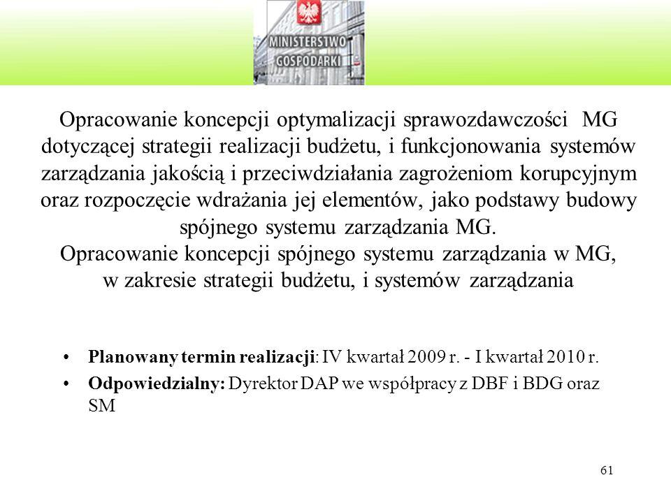 61 Opracowanie koncepcji optymalizacji sprawozdawczości MG dotyczącej strategii realizacji budżetu, i funkcjonowania systemów zarządzania jakością i p