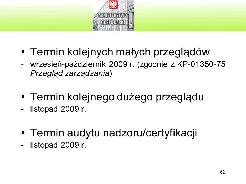 62 Termin kolejnych małych przeglądów -wrzesień-październik 2009 r. (zgodnie z KP-01350-75 Przegląd zarządzania) Termin kolejnego dużego przeglądu -li