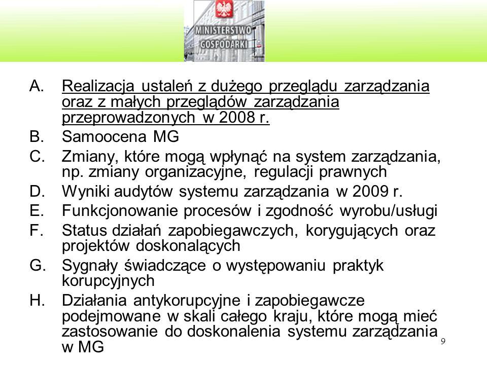 9 A.Realizacja ustaleń z dużego przeglądu zarządzania oraz z małych przeglądów zarządzania przeprowadzonych w 2008 r. B.Samoocena MG C.Zmiany, które m
