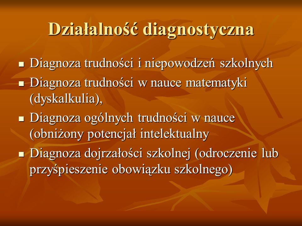 Działalność diagnostyczna Diagnoza trudności i niepowodzeń szkolnych Diagnoza trudności i niepowodzeń szkolnych Diagnoza trudności w nauce matematyki