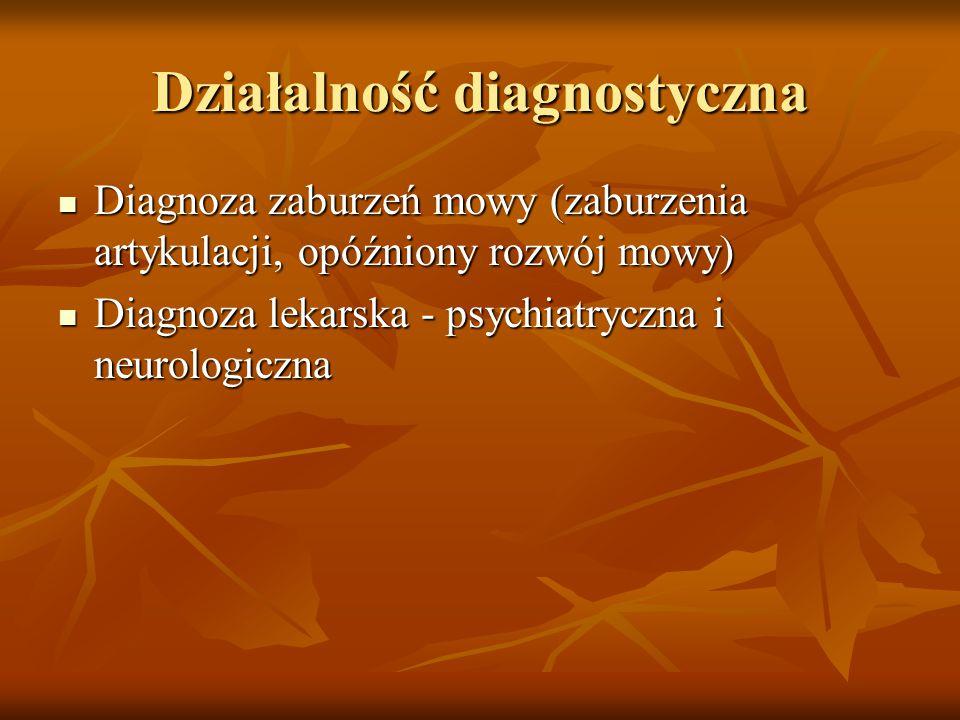 Działalność diagnostyczna Diagnoza zaburzeń mowy (zaburzenia artykulacji, opóźniony rozwój mowy) Diagnoza zaburzeń mowy (zaburzenia artykulacji, opóźn