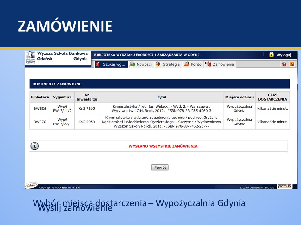 Wybór miejsca dostarczenia – Wypożyczalnia Gdynia Wyślij zamówienie