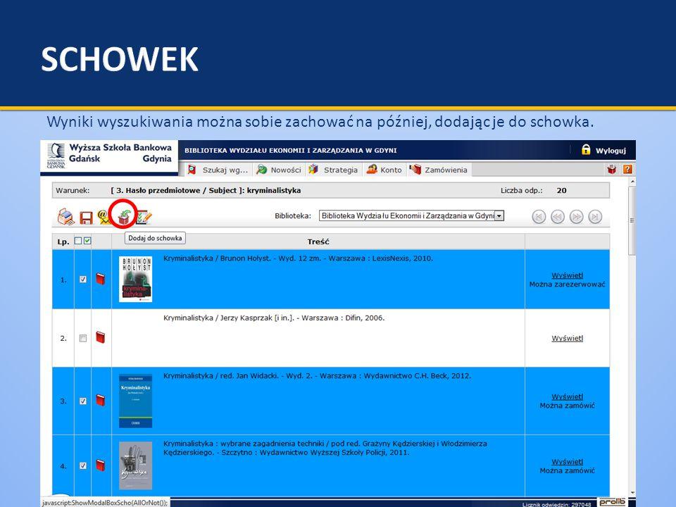  Rezerwacja konkretnego egzemplarza (przez kliknięcie na ikonkę ) jest zwykle NIEKORZYSTNA – wydłuża okres oczekiwania na książkę.