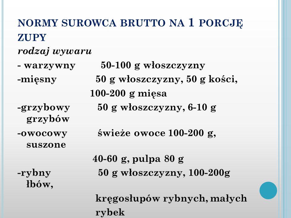 NORMY SUROWCA BRUTTO NA 1 PORCJĘ ZUPY rodzaj wywaru - warzywny 50-100 g włoszczyzny -mięsny 50 g włoszczyzny, 50 g kości, 100-200 g mięsa -grzybowy 50 g włoszczyzny, 6-10 g grzybów -owocowy świeże owoce 100-200 g, suszone 40-60 g, pulpa 80 g -rybny 50 g włoszczyzny, 100-200g łbów, kręgosłupów rybnych, małych rybek