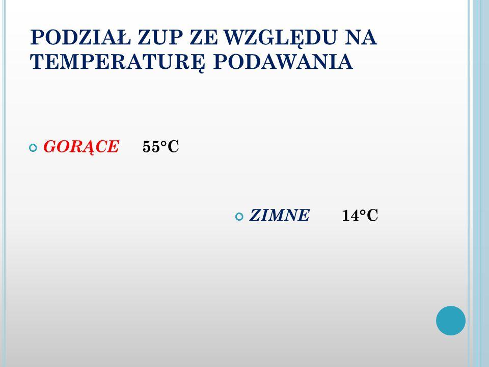 PODZIAŁ ZUP ZE WZGLĘDU NA TEMPERATURĘ PODAWANIA GORĄCE 55°C ZIMNE 14°C