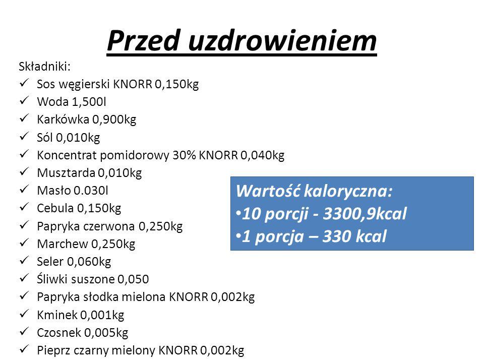 Przed uzdrowieniem Składniki: Sos węgierski KNORR 0,150kg Woda 1,500l Karkówka 0,900kg Sól 0,010kg Koncentrat pomidorowy 30% KNORR 0,040kg Musztarda 0,010kg Masło 0.030l Cebula 0,150kg Papryka czerwona 0,250kg Marchew 0,250kg Seler 0,060kg Śliwki suszone 0,050 Papryka słodka mielona KNORR 0,002kg Kminek 0,001kg Czosnek 0,005kg Pieprz czarny mielony KNORR 0,002kg Wartość kaloryczna: 10 porcji - 3300,9kcal 1 porcja – 330 kcal