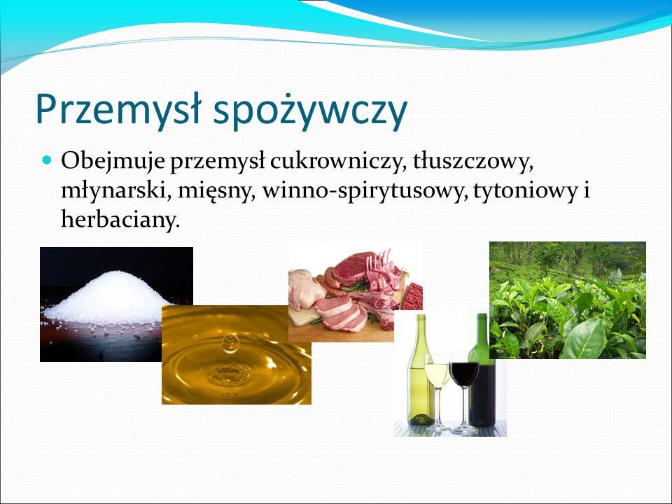 Przemysł spożywczy Obejmuje przemysł cukrowniczy, tłuszczowy, młynarski, mięsny, winno-spirytusowy, tytoniowy i herbaciany.