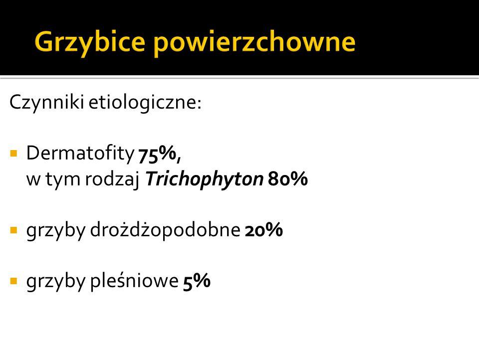 Czynniki etiologiczne:  Dermatofity 75%, w tym rodzaj Trichophyton 80%  grzyby drożdżopodobne 20%  grzyby pleśniowe 5%