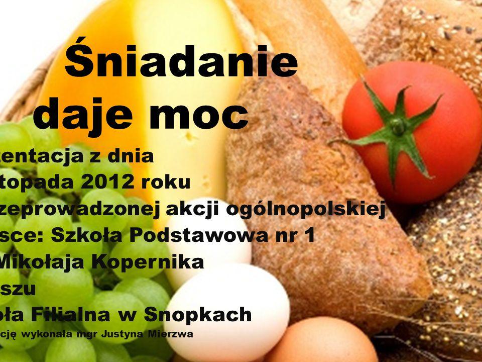 Śniadanie daje moc Prezentacja z dnia 8 listopada 2012 roku Z przeprowadzonej akcji ogólnopolskiej Miejsce: Szkoła Podstawowa nr 1 im.