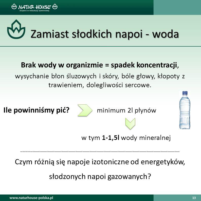 13 Zamiast słodkich napoi - woda Zamiast słodkich napoi - woda Brak wody w organizmie = spadek koncentracji, wysychanie błon śluzowych i skóry, bóle g