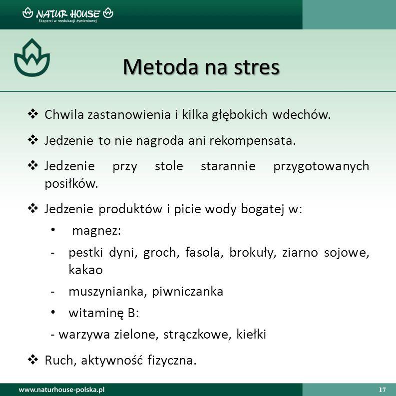 17 Metoda na stres  Chwila zastanowienia i kilka głębokich wdechów.  Jedzenie to nie nagroda ani rekompensata.  Jedzenie przy stole starannie przyg