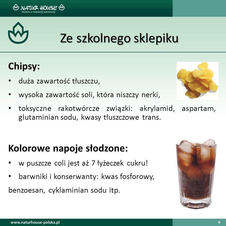 9 Ze szkolnego sklepiku Ze szkolnego sklepiku Chipsy: duża zawartość tłuszczu, wysoka zawartość soli, która niszczy nerki, toksyczne rakotwórcze związ