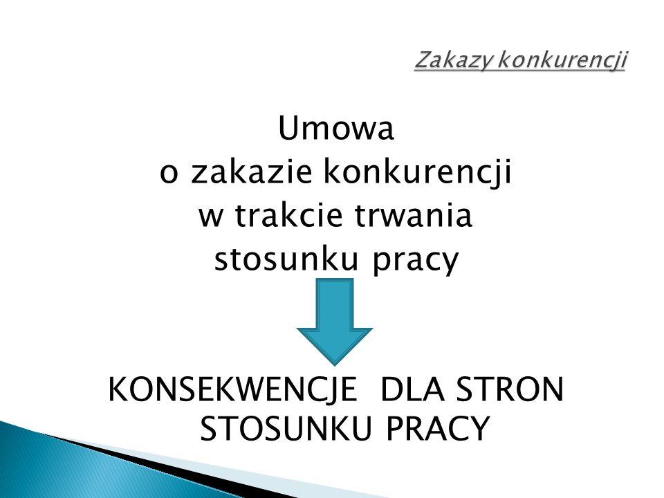 Umowa o zakazie konkurencji w trakcie trwania stosunku pracy KONSEKWENCJE DLA STRON STOSUNKU PRACY
