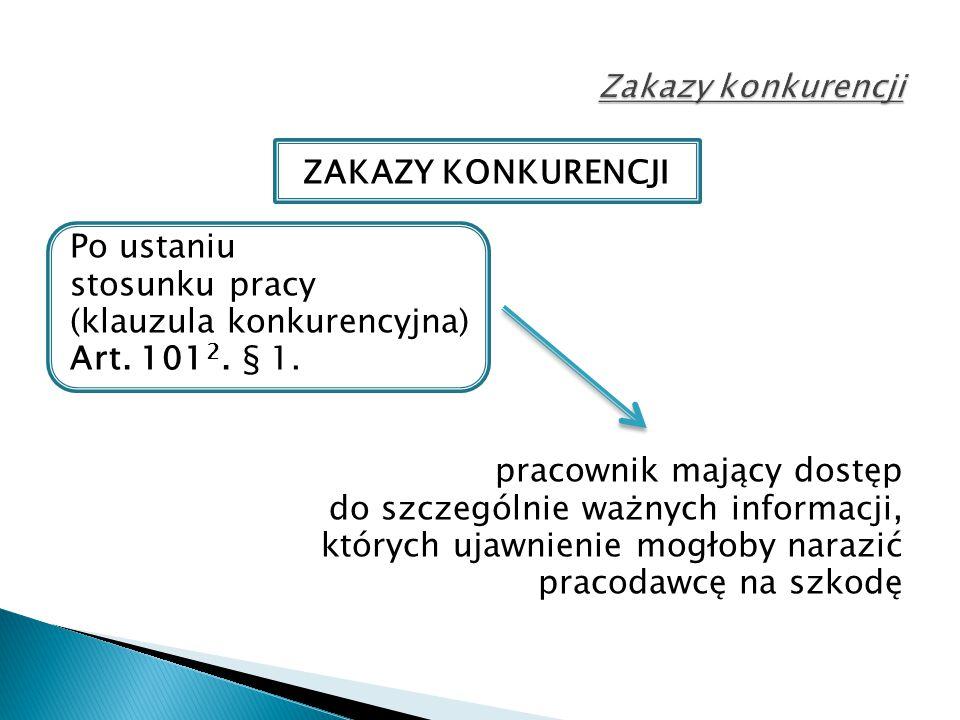 ZAKAZY KONKURENCJI Po ustaniu stosunku pracy (klauzula konkurencyjna) Art.