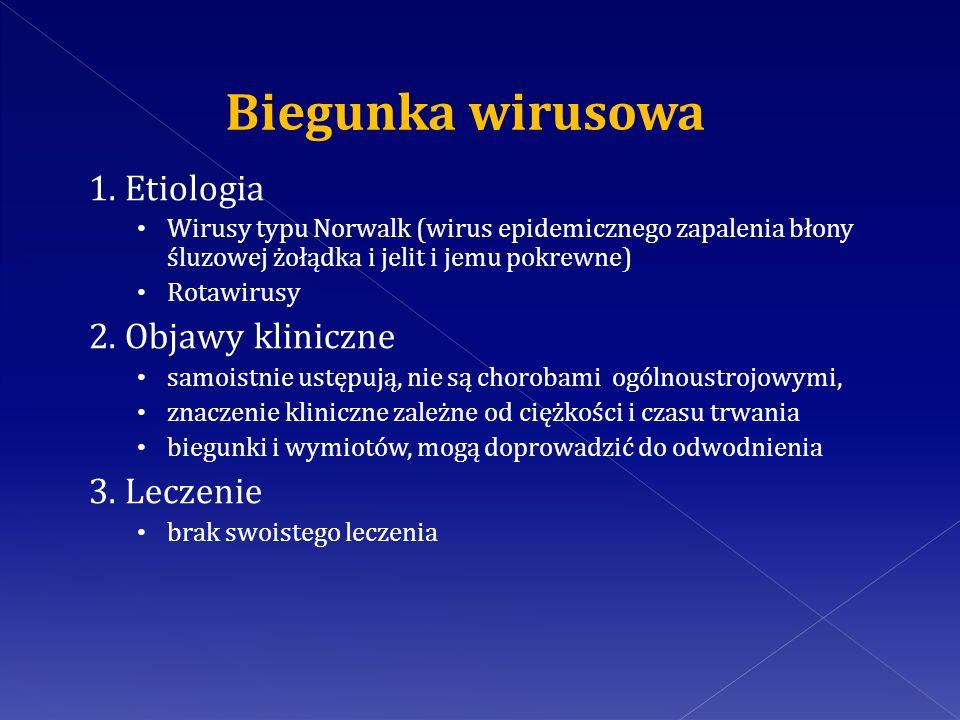 1. Etiologia Wirusy typu Norwalk (wirus epidemicznego zapalenia błony śluzowej żołądka i jelit i jemu pokrewne) Rotawirusy 2. Objawy kliniczne samoist