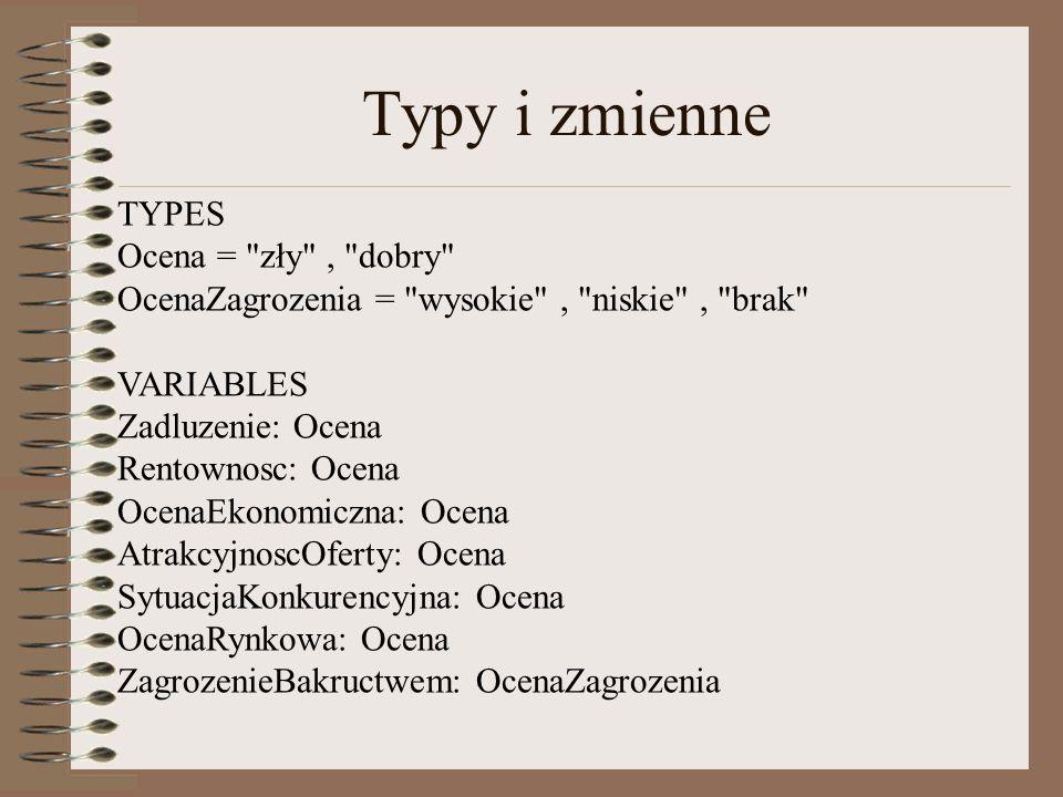 Typy i zmienne TYPES Ocena =
