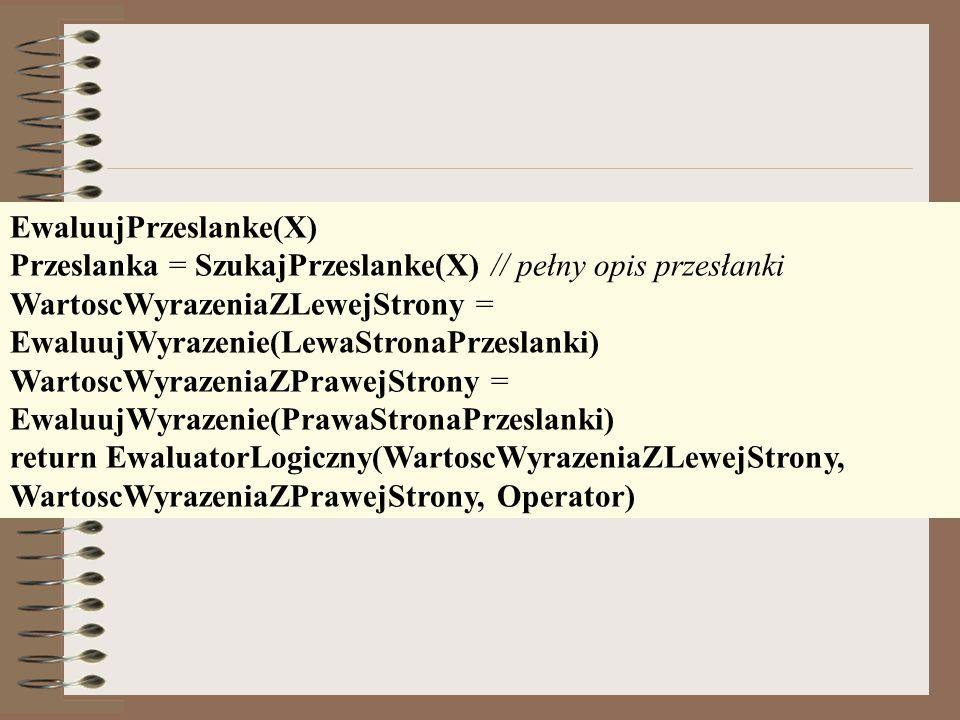 EwaluujPrzeslanke(X) Przeslanka = SzukajPrzeslanke(X) // pełny opis przesłanki WartoscWyrazeniaZLewejStrony = EwaluujWyrazenie(LewaStronaPrzeslanki) W