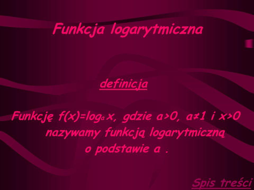 Funkcja logarytmiczna definicja Funkcję f(x)=log a x, gdzie a>0, a≠1 i x>0 nazywamy funkcją logarytmiczną o podstawie a.