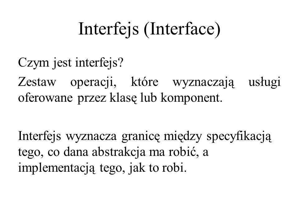 Interfejs (Interface) Czym jest interfejs? Zestaw operacji, które wyznaczają usługi oferowane przez klasę lub komponent. Interfejs wyznacza granicę mi