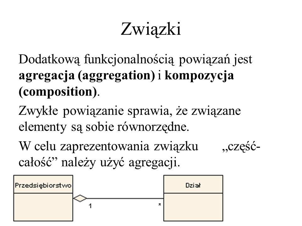 Związki Dodatkową funkcjonalnością powiązań jest agregacja (aggregation) i kompozycja (composition). Zwykłe powiązanie sprawia, że związane elementy s