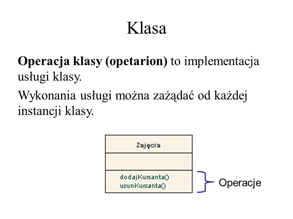 Klasa Dokładniejsze określenie operacji: dodanie typu wartości zwracanej przez operację podanie parametrów, ich typów i wartości początkowych [ widoczność ] nazwa [ (lista parametrów) ] [ : typ wyniku ] [ {określenie właściwości} ]
