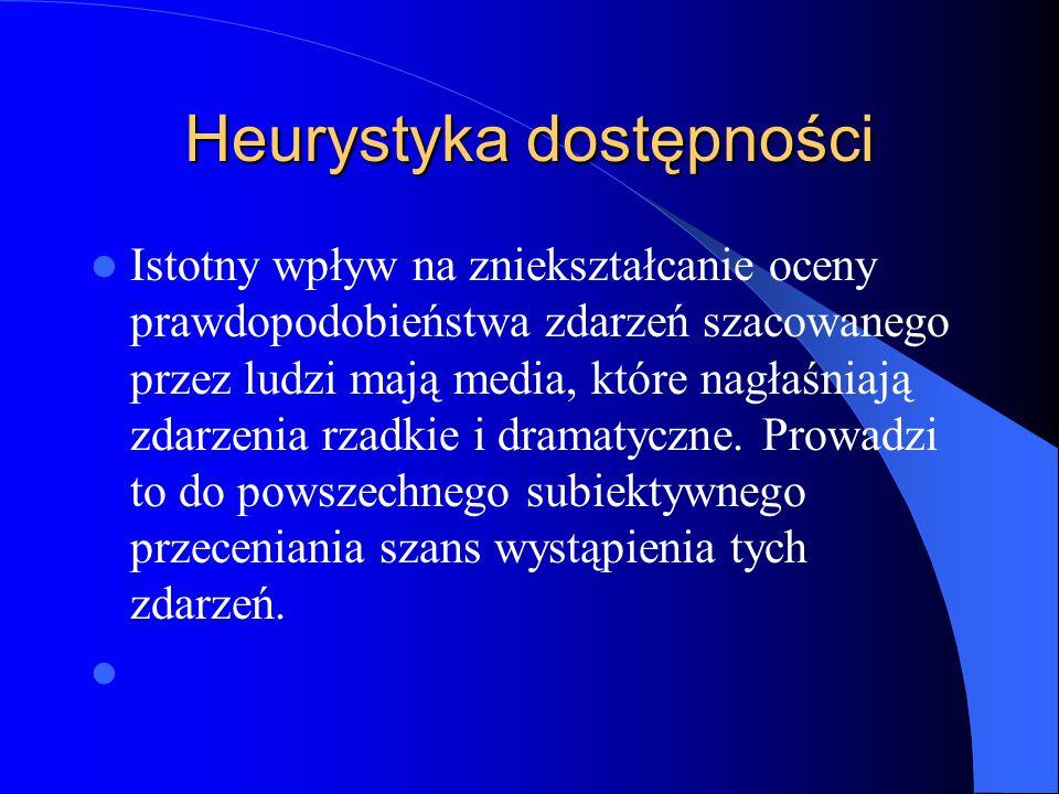Heurystyka dostępności Istotny wpływ na zniekształcanie oceny prawdopodobieństwa zdarzeń szacowanego przez ludzi mają media, które nagłaśniają zdarzen