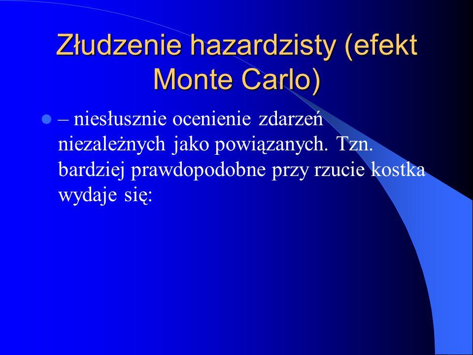 Złudzenie hazardzisty (efekt Monte Carlo) – niesłusznie ocenienie zdarzeń niezależnych jako powiązanych. Tzn. bardziej prawdopodobne przy rzucie kostk