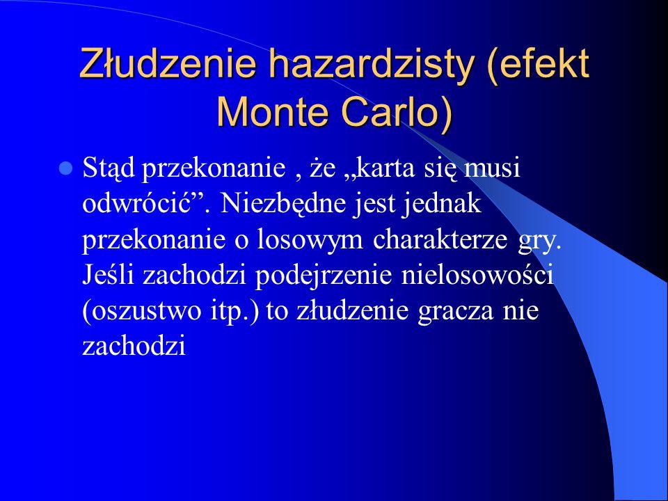 """Złudzenie hazardzisty (efekt Monte Carlo) Stąd przekonanie, że """"karta się musi odwrócić"""". Niezbędne jest jednak przekonanie o losowym charakterze gry."""