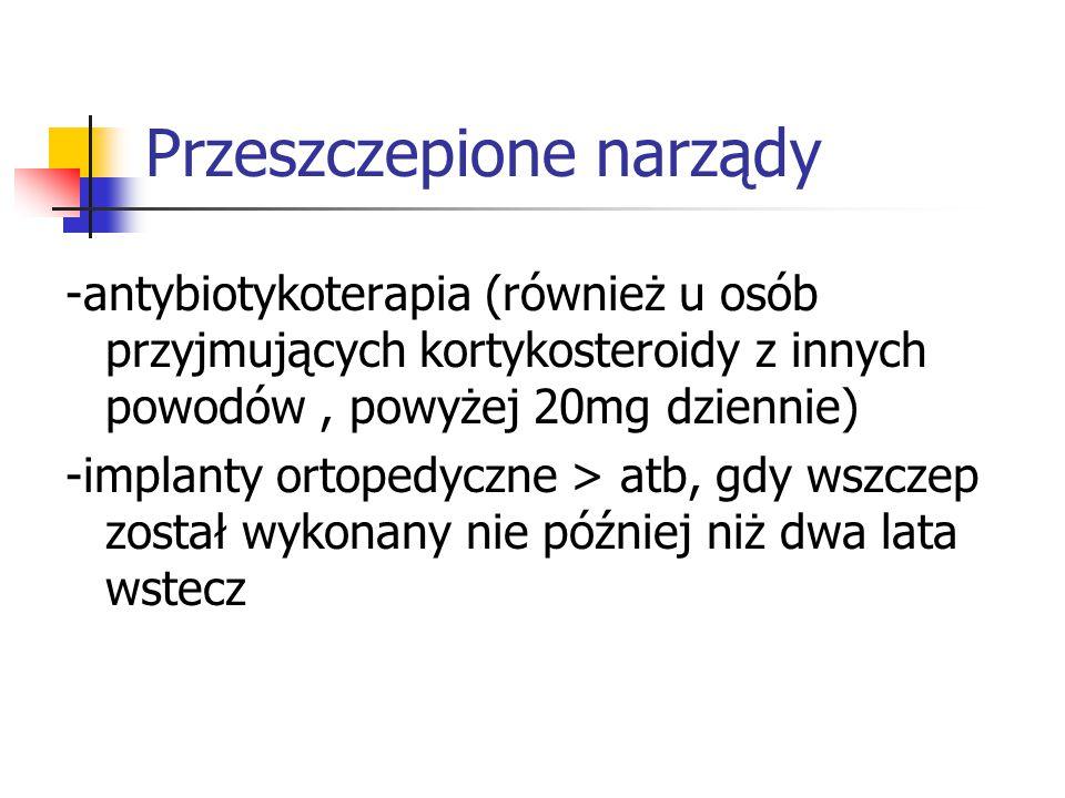 Przeszczepione narządy -antybiotykoterapia (również u osób przyjmujących kortykosteroidy z innych powodów, powyżej 20mg dziennie) -implanty ortopedycz