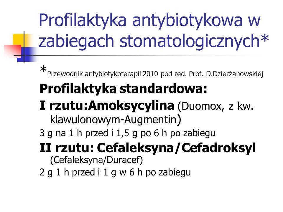 Profilaktyka antybiotykowa w zabiegach stomatologicznych* * Przewodnik antybiotykoterapii 2010 pod red. Prof. D.Dzierżanowskiej Profilaktyka standardo