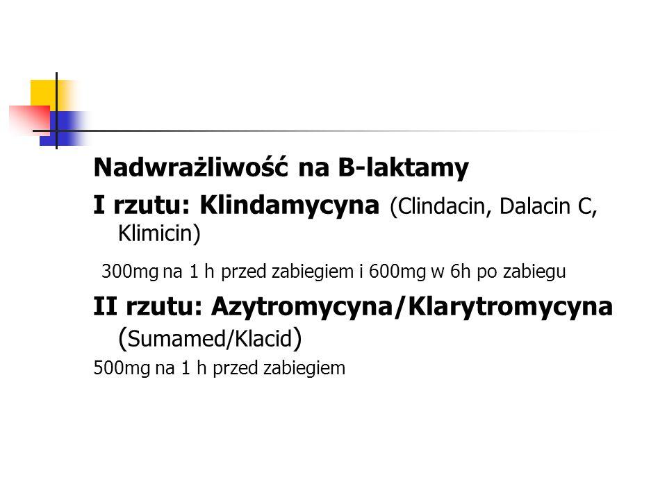 Nadwrażliwość na B-laktamy I rzutu: Klindamycyna (Clindacin, Dalacin C, Klimicin) 300mg na 1 h przed zabiegiem i 600mg w 6h po zabiegu II rzutu: Azytromycyna/Klarytromycyna ( Sumamed/Klacid ) 500mg na 1 h przed zabiegiem