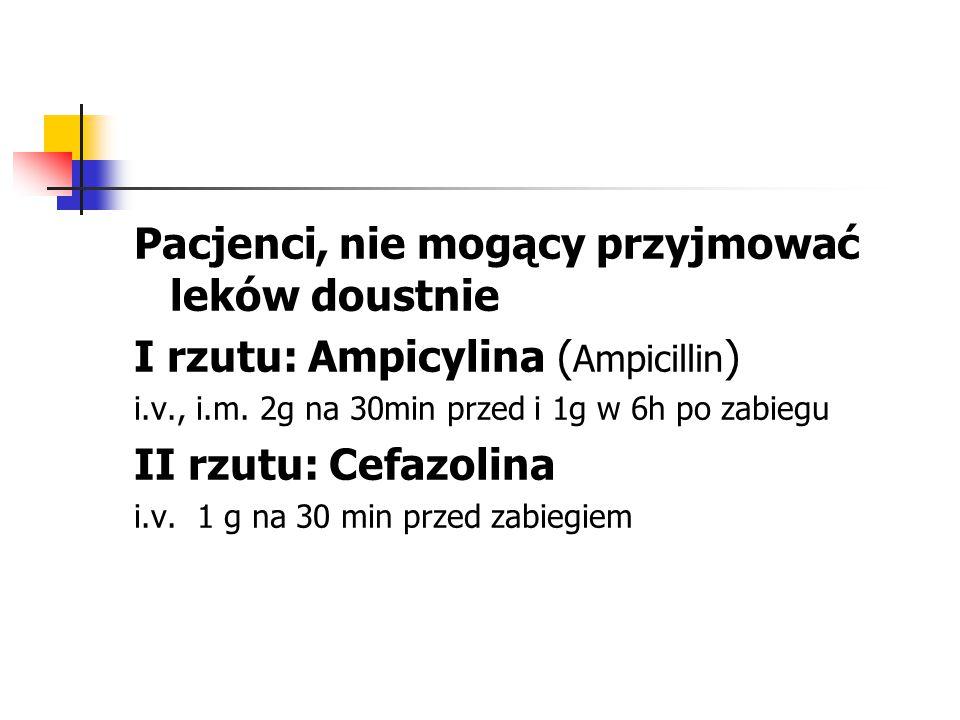 Pacjenci, nie mogący przyjmować leków doustnie I rzutu: Ampicylina ( Ampicillin ) i.v., i.m. 2g na 30min przed i 1g w 6h po zabiegu II rzutu: Cefazoli