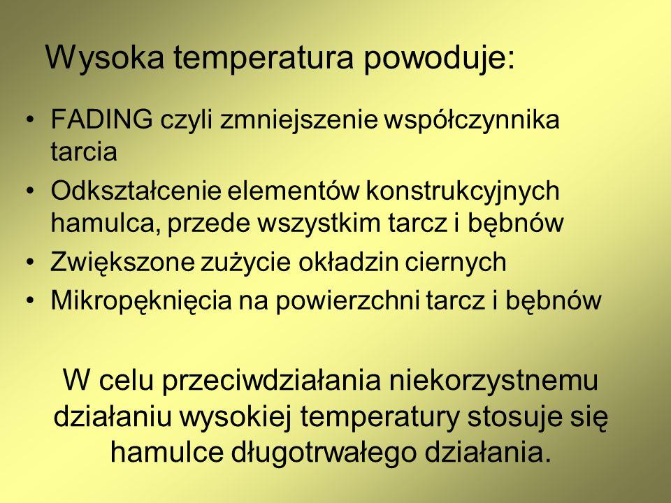 Wysoka temperatura powoduje: FADING czyli zmniejszenie współczynnika tarcia Odkształcenie elementów konstrukcyjnych hamulca, przede wszystkim tarcz i
