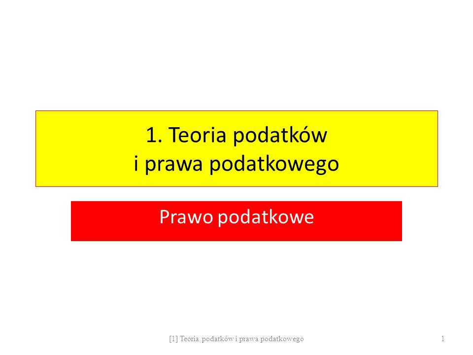Polski system podatkowy: Klasyfikacja pod kątem źródła poboru podatku Źródło: Dochód Podatki przychodowe Podatki dochodowe (PIT, CIT) Źródło: Majątek Podatki od posiadania majątku ( rolny, leśny) Podatki od wartości majątku (katastralny) Podatki od wzrostu wartości majątku ( opłata adiacencka) Podatki od wzrostu masy majątkowej ( od spadków i darowizn) Podatki od transferu majątku (PCC, PIT) Źródło: Obrót Podatki od obrotu profesjonalnego (VAT, akcyza) Podatki od obrotu niezawodowego (PCC) [1] Teoria podatków i prawa podatkowego 22