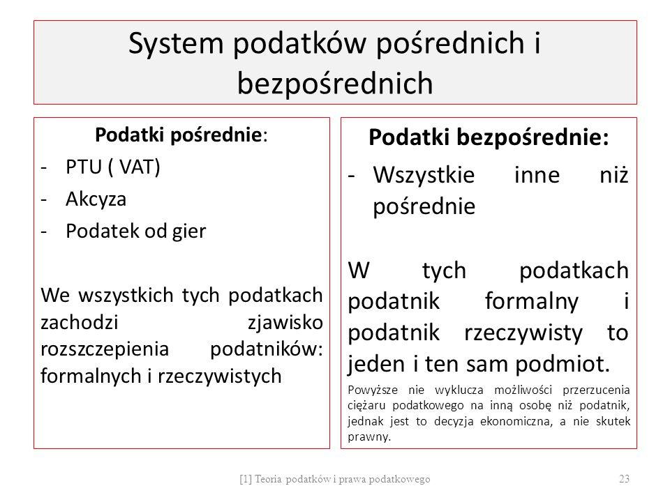 System podatków pośrednich i bezpośrednich Podatki pośrednie: -PTU ( VAT) -Akcyza -Podatek od gier We wszystkich tych podatkach zachodzi zjawisko rozs