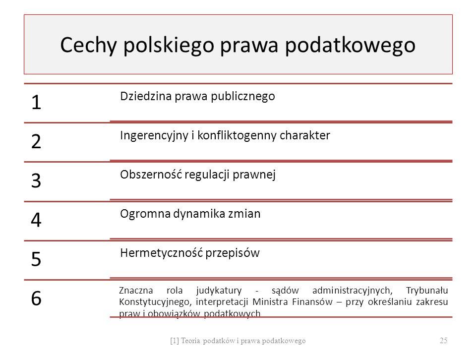 Cechy polskiego prawa podatkowego 1 Dziedzina prawa publicznego 2 Ingerencyjny i konfliktogenny charakter 3 Obszerność regulacji prawnej 4 Ogromna dyn
