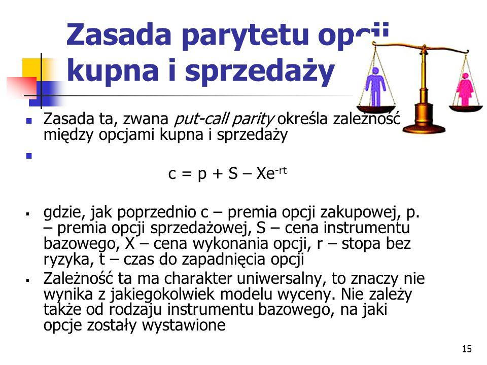 15 Zasada parytetu opcji kupna i sprzedaży Zasada ta, zwana put-call parity określa zależność między opcjami kupna i sprzedaży c = p + S – Xe -rt  gd