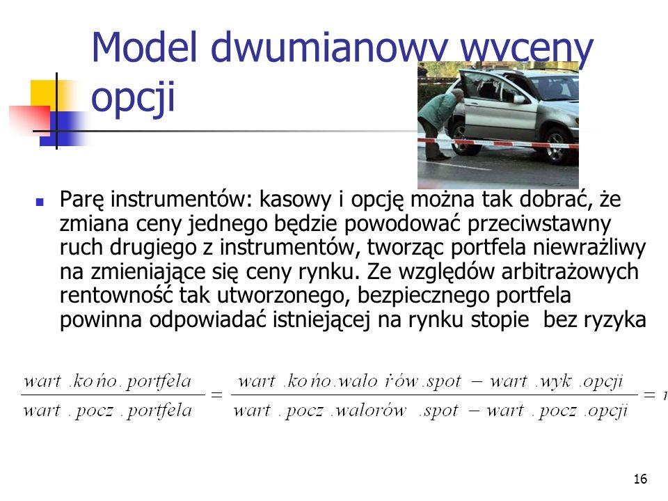 16 Model dwumianowy wyceny opcji Parę instrumentów: kasowy i opcję można tak dobrać, że zmiana ceny jednego będzie powodować przeciwstawny ruch drugie