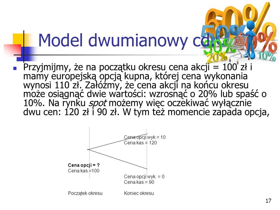 17 Cena opcji wyk.= 10 Cena kas.= 120 Cena opcji = ? Cena kas.=100 Cena opcji wyk. = 0 Cena kas.= 90 Początek okresuKoniec okresu Model dwumianowy cd.