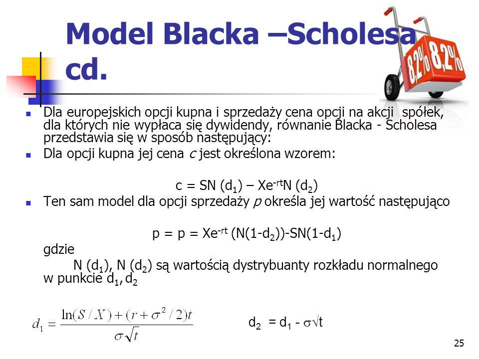 25 d 2 = d 1 -  t Dla europejskich opcji kupna i sprzedaży cena opcji na akcji spółek, dla których nie wypłaca się dywidendy, równanie Blacka - Scho