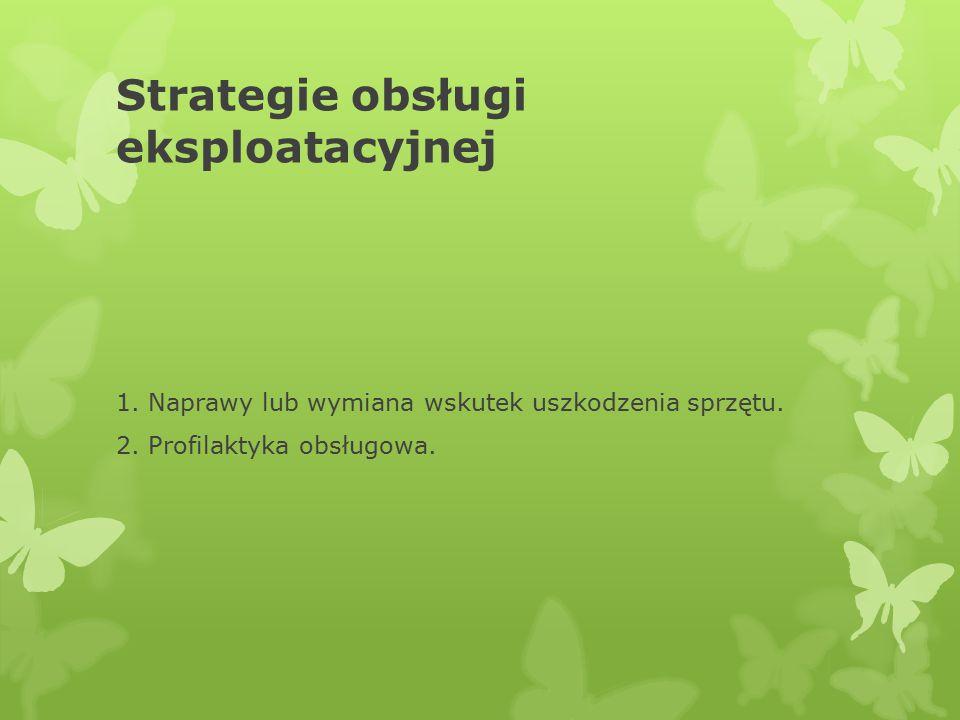 Strategie obsługi eksploatacyjnej 1. Naprawy lub wymiana wskutek uszkodzenia sprzętu. 2. Profilaktyka obsługowa.