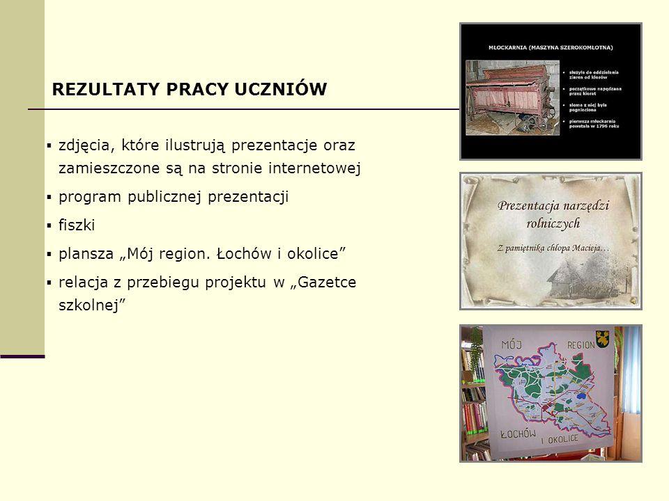 """REZULTATY PRACY UCZNIÓW  zdjęcia, które ilustrują prezentacje oraz zamieszczone są na stronie internetowej  program publicznej prezentacji  fiszki  plansza """"Mój region."""