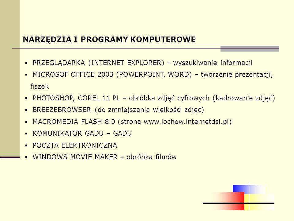 NARZĘDZIA I PROGRAMY KOMPUTEROWE  PRZEGLĄDARKA (INTERNET EXPLORER) – wyszukiwanie informacji  MICROSOF OFFICE 2003 (POWERPOINT, WORD) – tworzenie prezentacji, fiszek  PHOTOSHOP, COREL 11 PL – obróbka zdjęć cyfrowych (kadrowanie zdjęć)  BREEZEBROWSER (do zmniejszania wielkości zdjęć)  MACROMEDIA FLASH 8.0 (strona www.lochow.internetdsl.pl)  KOMUNIKATOR GADU – GADU  POCZTA ELEKTRONICZNA  WINDOWS MOVIE MAKER – obróbka filmów