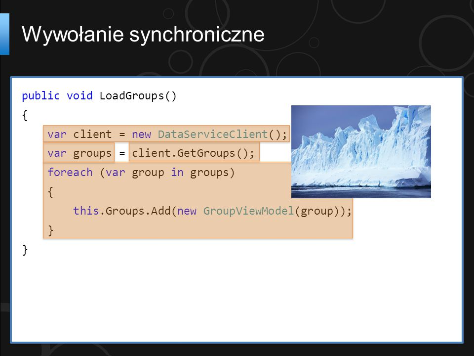 public void LoadGroups() { var client = new DataServiceClient(); var groups = client.GetGroups(); foreach (var group in groups) { this.Groups.Add(new GroupViewModel(group)); } Wywołanie synchroniczne
