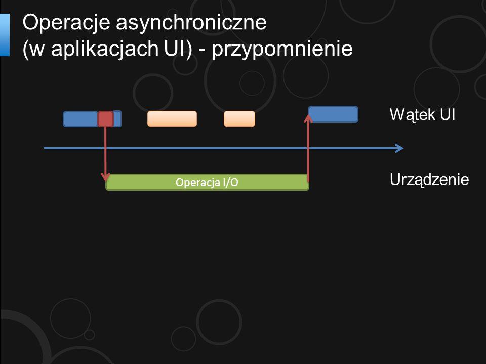 Operacje asynchroniczne (w aplikacjach UI) - przypomnienie Operacja I/O Wątek UI Urządzenie