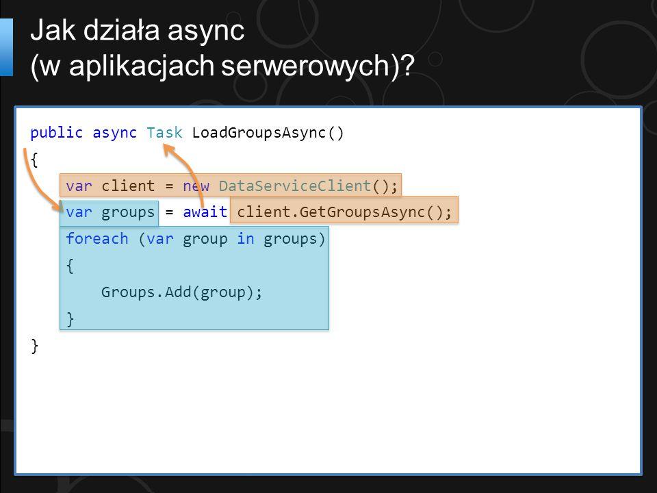 public async Task LoadGroupsAsync() { var client = new DataServiceClient(); var groups = await client.GetGroupsAsync(); foreach (var group in groups)